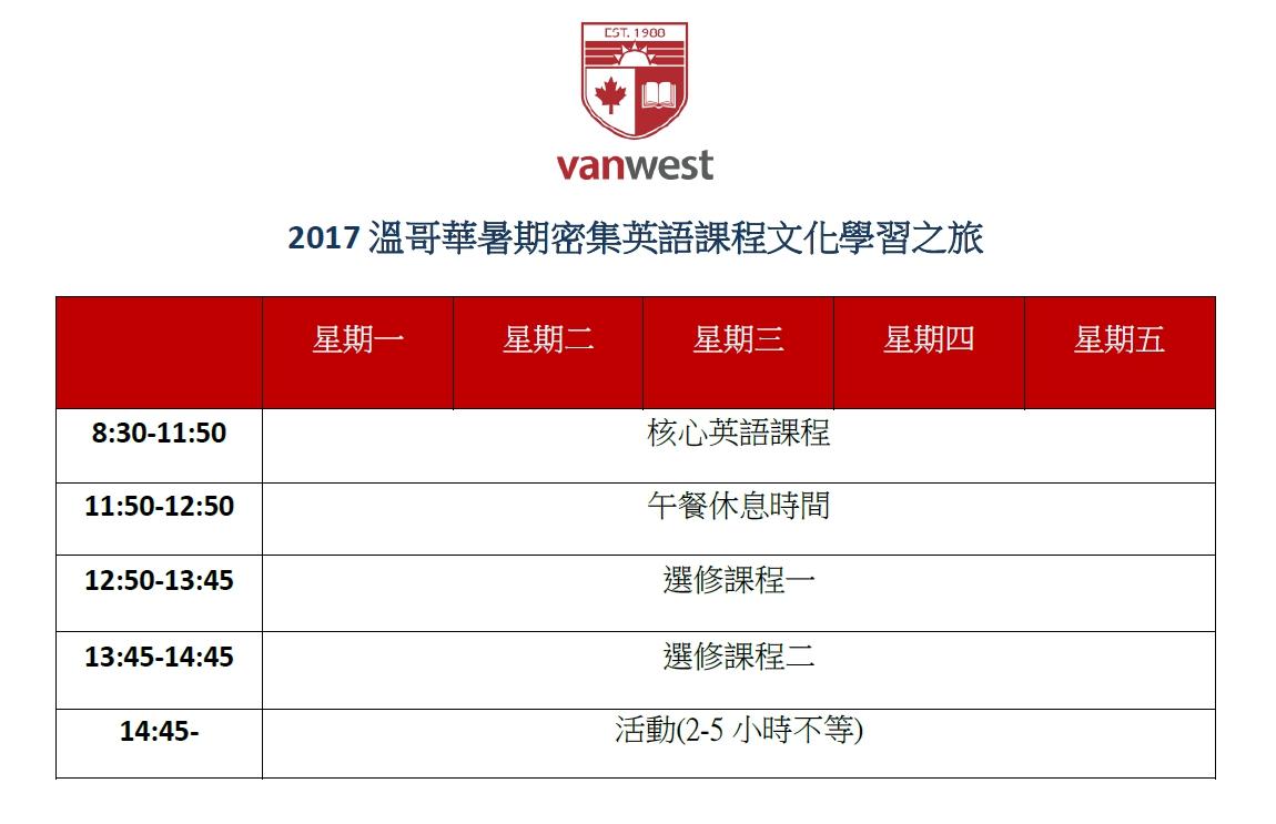 2017 VanWest 溫哥華夏令營