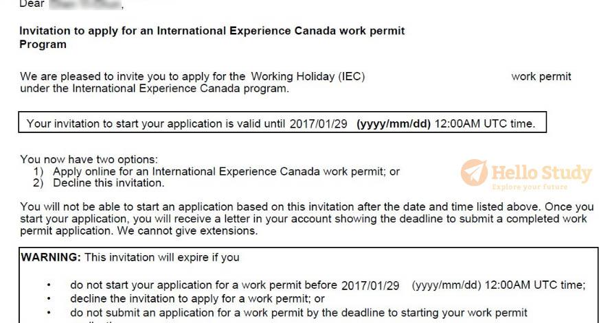 2017加拿大遊學打工邀請信