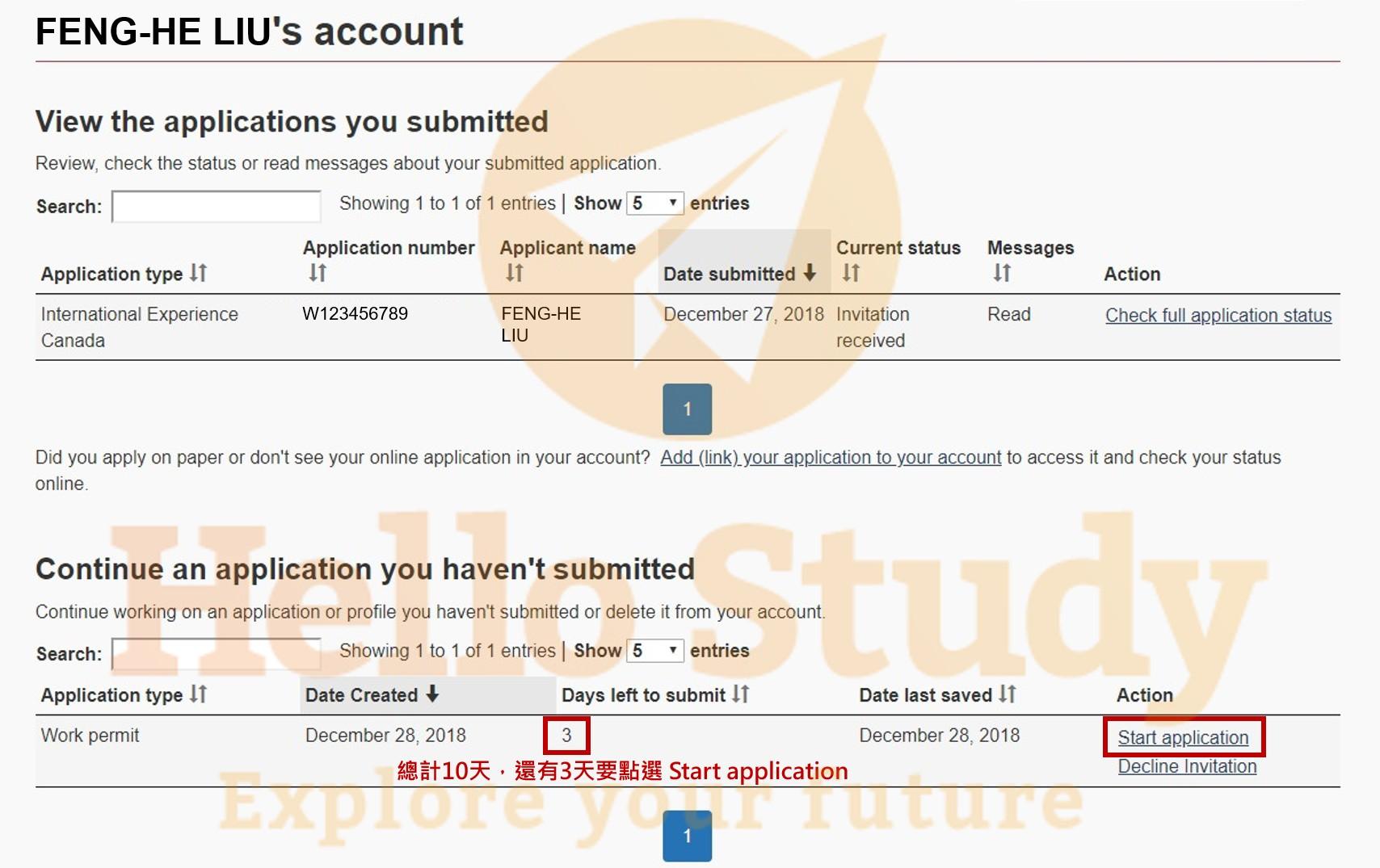 點選【Start application】,20天內要上傳加打所有文件