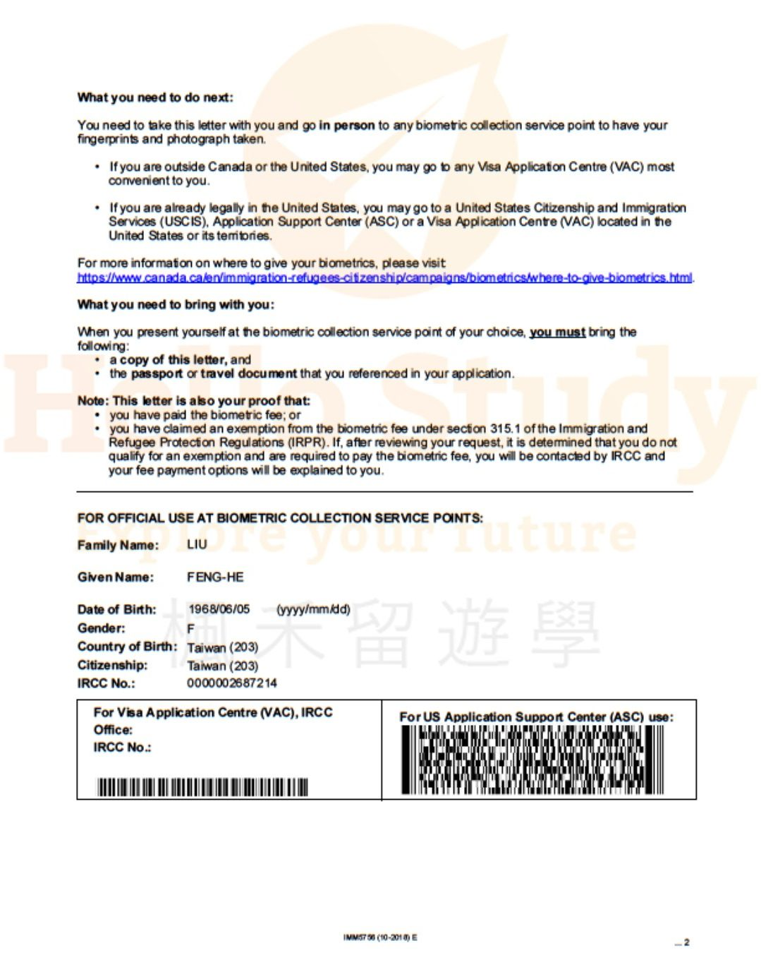 IMM 5756 Biometric Instruction Letter Page 2