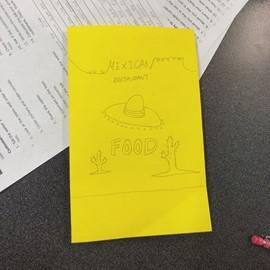 ▲今天的Conversation class,老師要我們設計自己的英文菜單,來模擬客人與服務生之間的對話。